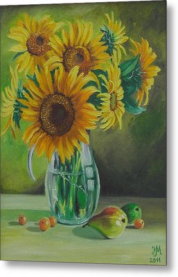 Sunflowers In Glass Jug Metal Print by Nina Mitkova
