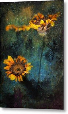Sunflowers In Night Sky Metal Print by James Bethanis