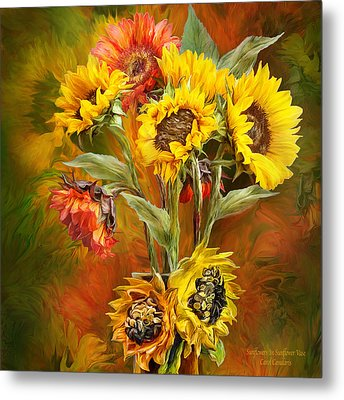 Sunflowers In Sunflower Vase - Square Metal Print
