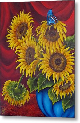 Sunflowers Metal Print by Katia Aho