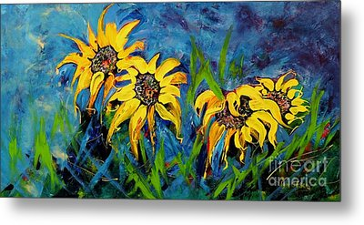 Metal Print featuring the painting Sunflowers by Lyn Olsen