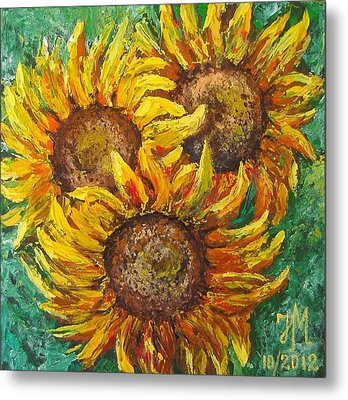 Metal Print featuring the painting Sunflowers by Nina Mitkova