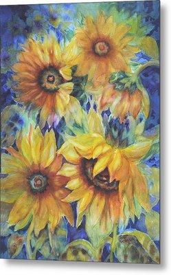 Sunflowers On Blue Metal Print by Ann Nicholson
