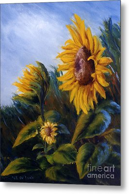 Metal Print featuring the painting Sunflowers On Green Hill Under Blue Sky by Lenora  De Lude