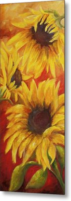 Sunflowers On Red Metal Print by Chris Brandley
