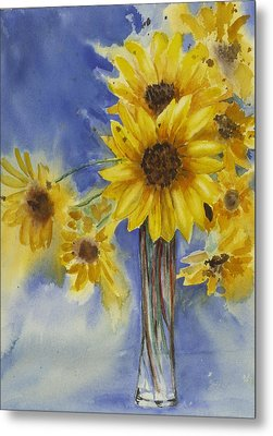 Sunflowers Picked Today Metal Print by Judy Loper