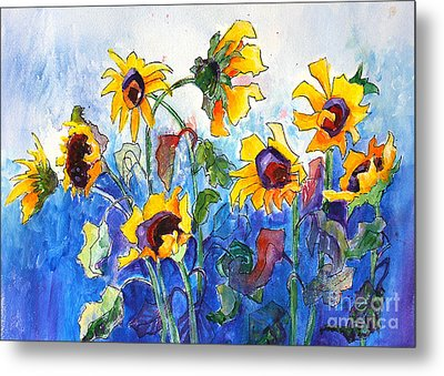 Metal Print featuring the painting Sunflowers by Priti Lathia