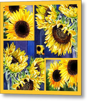 Metal Print featuring the painting Sunflowers Sunny Collage by Irina Sztukowski