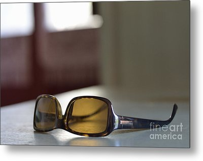 Sunglasses On Table Metal Print by Sami Sarkis