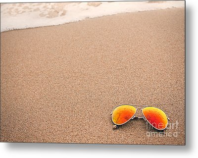 Sunglasses On The Beach Metal Print by Sharon Dominick