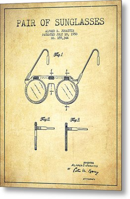 Sunglasses Patent From 1950 - Vintage Metal Print by Aged Pixel