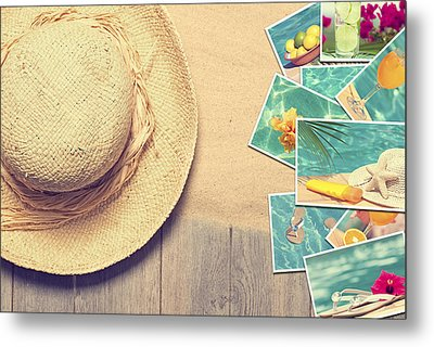 Sunhat And Postcards Metal Print by Amanda Elwell