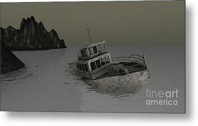 Metal Print featuring the digital art Sunken Boat by Susanne Baumann