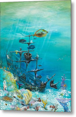 Sunken Ship Habitat Metal Print by John Garland  Tyson