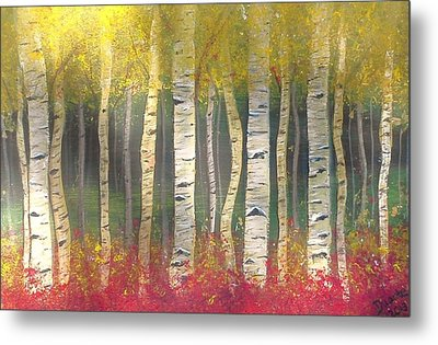 Sunlight On Aspens Metal Print by Carol Duarte