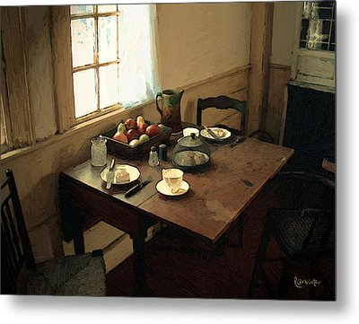Sunlight On Dining Table Metal Print by RC deWinter