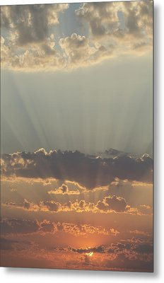 Sunlight Shining Through Clouds And Metal Print by Keith Levit