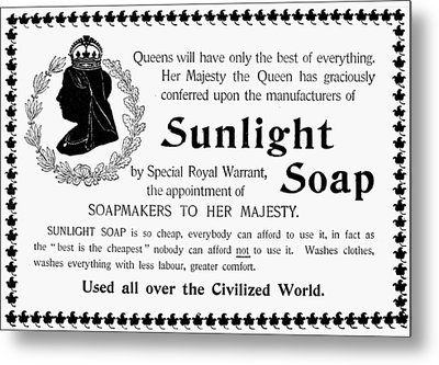 Sunlight Soap Ad, 1896 Metal Print by Granger