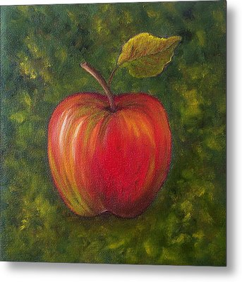 Metal Print featuring the painting Sunlit Apple Sold by Susan Dehlinger