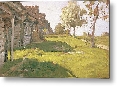 Sunlit Day  A Small Village Metal Print by Isaak Ilyich Levitan