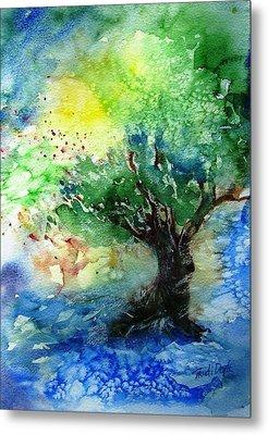 Sunlit Olive Tree In Skiathos  Metal Print by Trudi Doyle