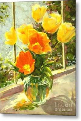 Sunlit Tulips Metal Print by Madeleine Holzberg