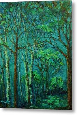 Sunlit Woodland Path Metal Print