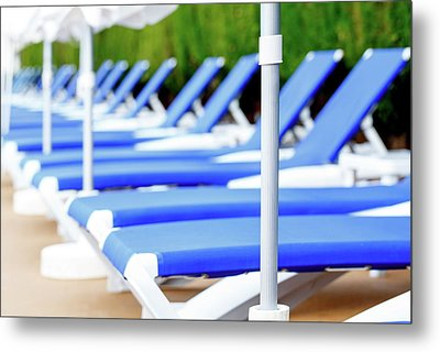 Sunloungers In A Row Metal Print