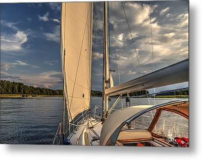 Sunny Afternoon Inland Sailing In Poland Metal Print