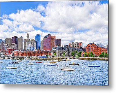 Sunny Afternoon On Boston Harbor Metal Print by Mark E Tisdale