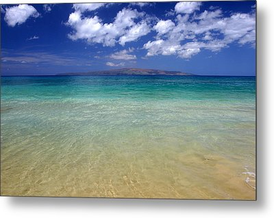 Sunny Blue Beach Makena Maui Hawaii Metal Print