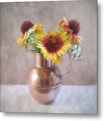Metal Print featuring the photograph Sunny Treasure Flowers In A Copper Jug by Louise Kumpf