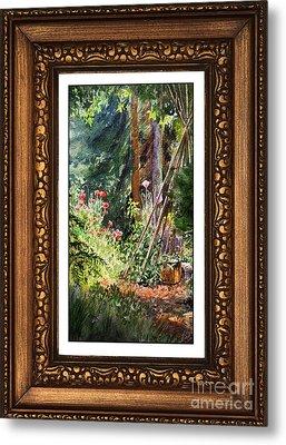 Sunny Garden In Vintage Frame Metal Print by Irina Sztukowski