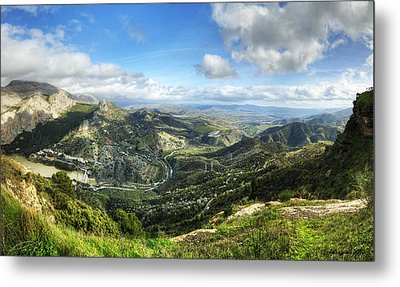 Metal Print featuring the photograph Sunny Mountains View With Picturesque Clouds by Julis Simo
