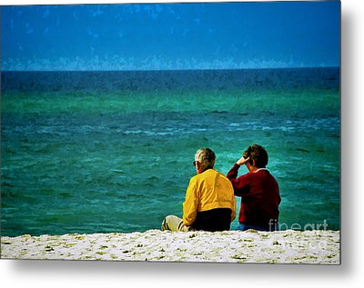 Sunny Winter Day At Beach Metal Print by Dave Bosse