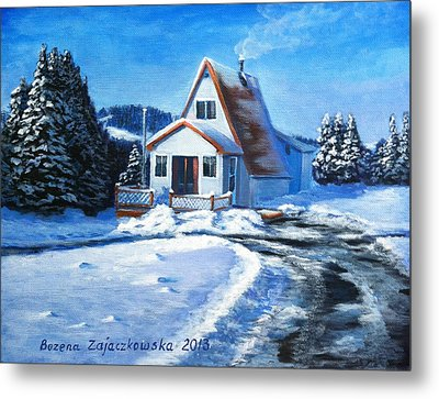 Sunny Winter Day By The Cabin Metal Print