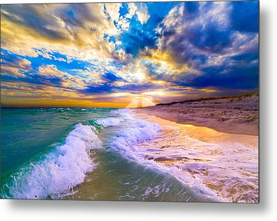 Metal Print featuring the photograph Sunrays Breaking Over Blue Sea-destin Florida Sunset by eSzra