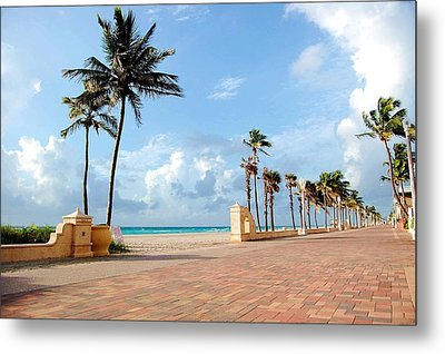 Sunrise Along The Hollywood Beach Boardwalk Metal Print by Shawn Lyte