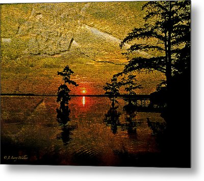 Sunrise And Cypress Abstract Metal Print by J Larry Walker