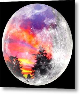 Sunrise And Full Moon Metal Print by Anne Thurston