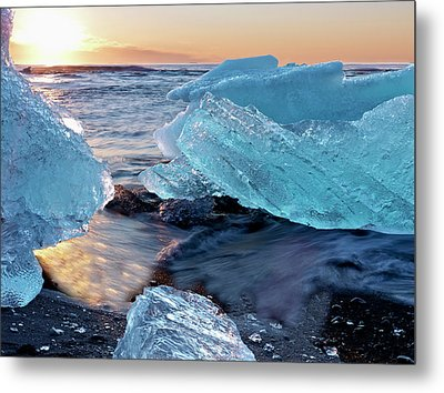 Sunrise And Iceberg Formation Metal Print by Tom Norring