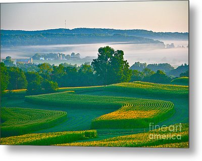 Sunrise And Morning Fog Metal Print by Joan McArthur