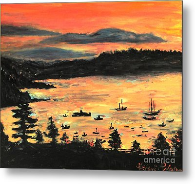 Metal Print featuring the painting Sunrise At Bar Harbor Maine by Helena Bebirian