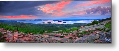 Sunrise At  Cadillac Pano  Metal Print by Emmanuel Panagiotakis
