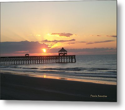 Sunrise At Folly Beach Metal Print by Paula Rountree Bischoff