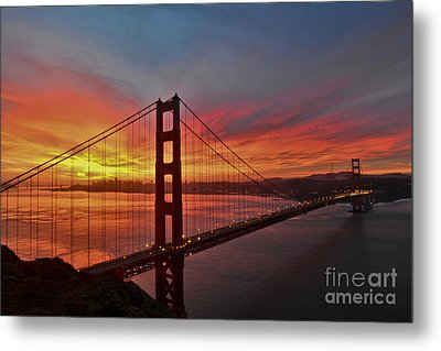 Sunrise Over The Golden Gate Bridge  Metal Print by Peter Dang
