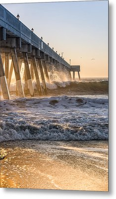 Sunrise At Johnnie Mercer Pier Metal Print