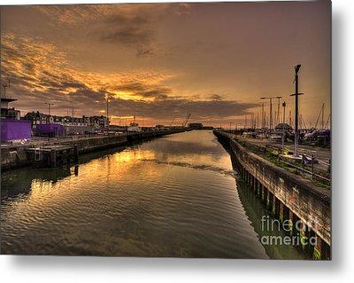 Sunrise At Lowestoft Harbour  Metal Print by Rob Hawkins