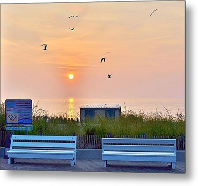 Sunrise At Rehoboth Beach Boardwalk Metal Print
