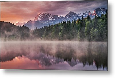 Sunrise At The Lake Metal Print by Andreas Wonisch